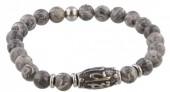 A-B18.1 S. Steel Bracelet with Semi Precious Stones Grey