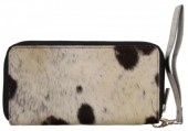 S-C2.4  Leather Wallet with Cowhide Black with Mixed Color Cowhide 21.5x11cm