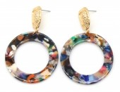 E-A15.1  E426-013 Metal with Acrylic Earrings 60x38mm Gold