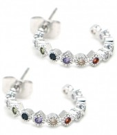 A-A16.5 E1929-004S Earrings with Multi Color Cubic Zirconia Silver