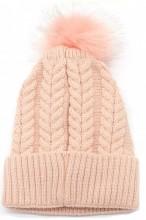 T-I7.1 HAT003-003B Hat with Fake Fur Pompon Pink