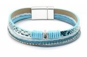 B-C1.1 B1633-010H PU Bracelet Leopard with Crystals Blue