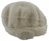 T-L4.1  Soft Fake Fur Hat with Flower White
