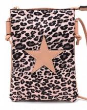 T-A4.1 BAG326-002 PU Festival Crossbody Bag Leopard with Star 20x15cm Pink