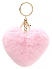 E-F7.2 KY414-003E Fluffy Bag-Keychain 10cm Heart Pink