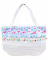 Y-D5.2 BAG217-024 Beach Bag with Flamingos and Tassels White-Blue