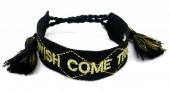 E-B6.5 B2030-008 Woven Bracelet WISH COME TRUE Black