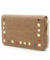 WA214-003 PU Wallet with Studs Brown