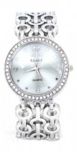 WA203-002 Quartz Watch Metal Chain with Crytals Silver
