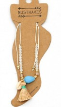 F-B20.3 ANK221-018 Anklet with Tassel and Shell White