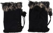 Q-H7.7 Hand Warmers with Fur Black