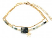 E-D17.3 B426-007 Layered Bracelet with Beads and Star Gold