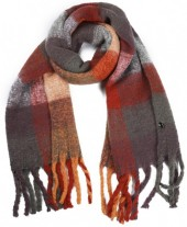 Y-C5.4  SCARF408-003C Soft Checkered Scarf with Fringes 180x47cm Multi Color