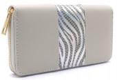 R-I7.1 WA529-001A PU Wallet Shiny Zebra 19x10cm Grey