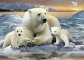 R-G2.1  S198 Diamond Painting Set Polar Bear Family 50x40cm