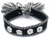 A-B21.3 B2040-004SB Woven Bracelet with S. Steel LOVE Black-Silver