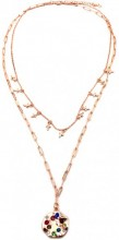 F-E3.1 N426-004R Layered Necklace Crosses and Crystals Rose Gold