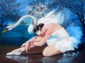 R-L8.2 GX563 Diamond Painting Set Swan Girl 40x30cm