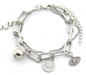 C-D20.5 B2019-010S Layered Chain Bracelet with Charms Silver