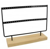 Z-F4.1 PK424-003 Wood with Metal Earring Display Black 27x22x7cm