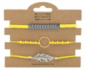 F-C17.1  B316-003 Bracelet Set 3pcs Feather-Circle Yellow
