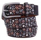 H-E10.1 FTG-060 PU with Leather Belt with Studs-Stars-Crystals 3.5x85cm Brown