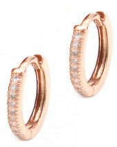 B-A15.3  E002-001R Earrings with Cubic Zirconia 13mm Rose Gold