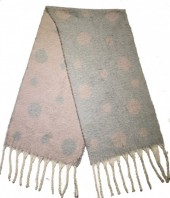 Z-E2.3 S108-007 Soft Double Sided Scarf with Dots 42x180cm Grey-Pink