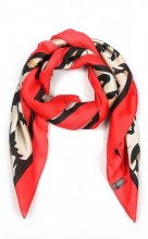 S-D8.3  S301-001B Scarf Silky Feel 70x70cm Leopard Brown-Red