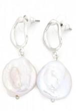 A-E5.5 E318-008 Earrings with Pearl Silver