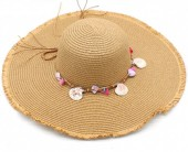 Z-F1.2 HAT315-001B Summer Hat with Shells Brown