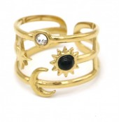 E-A21.1 R110248G S. Steel Ring Star and Moon Adjustable Gold
