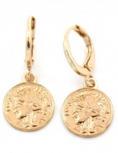 A-A6.1  E304-015 Metal Earrings with Coin 2x1cm Gold