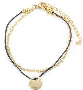 B-A18.1  B003-011 Stainless Steel with Cord Bracelet and 10mm Coin Black-Gold