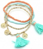 C-E7.4 B538-005 Bracelet Set 4pcs Coins and Tassels