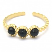 D-F7.6 R2033-006G S. Steel Ring with Stones Adjustable Gold