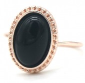 G-E2.1 R532-007R Adjustable Ring with Black Stone Rose Gold