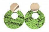 D-E16.1  E220-009 Earrings with Snakeskin 5.5x4cm Green