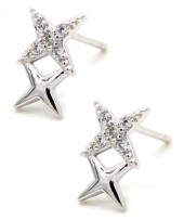 D-D17.5 SE104-085 Earrings 925 Sterling Silver Stars with Crystals