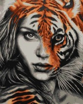 R-N7.1 GS282 Diamond Painting Set Tiger Girl 50x40cm