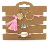 F-A21.2 B316-002 Bracelet Set 3pcs Circle-Shell Pink