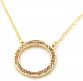 C-A9.2  N426-017G Necklace Circle with Crystals Gold