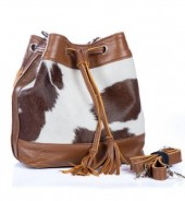 BAG-961 Leather Bag 32x20x13cm Brown with Mixed Colors Cowhide