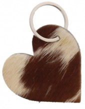 A-F18.2  Leather Cowhide Keychain Heart Mixed Colors 6.5cm