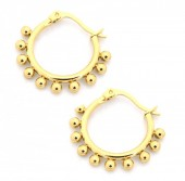 D-A3.1  E1264-004S Stainless Steel Earrings with Dots 15mm Gold