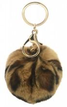 C-A9.1 KY414-002C Fluffy Bag-Keychain 7cm Leopard Light Brown