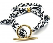 C-F16.2  B2040-006 Animal Print Fabric Bracelet with Stainless Steel Lock White-Gold