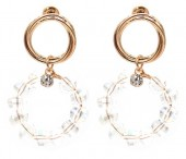 E-D19.4 E2019-005 Earring with Faceted Glass Beads Rose Gold