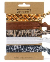 S-B6.2 H017-003A Hair Tie Leopard and Snake 5pcs