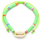 D-C2.2  B1925-009 Bracelet with Surf Beads and Shell Green